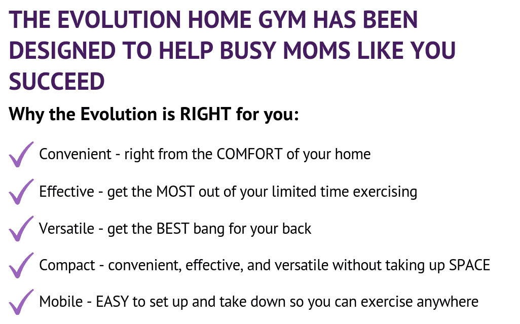 The EvolutionVN Evolution Home Gym was specifically designed for moms