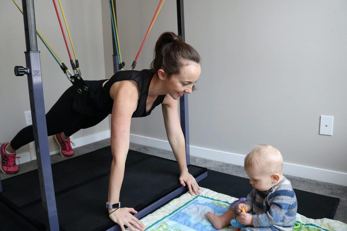 The Evolution Training System gives you confidence that you can exercise safely near your children.
